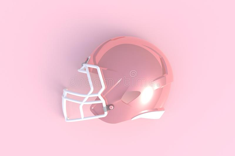 Pink american football helmet side view on a pink background. 3D rendering stock illustration