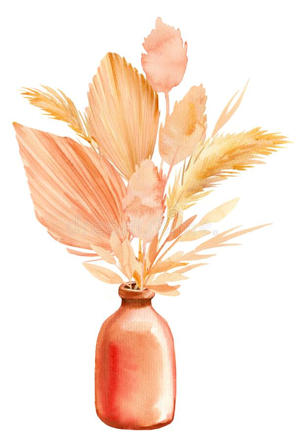 Free Pink And Beige Tropical Leaves, A Bouquet Of Dry Plants In A Vase On A White Background, Watercolor Illustration Stock Images - 188301174