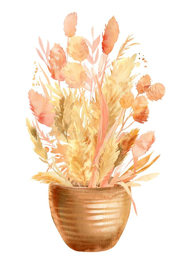 Free Pink And Beige Tropical Leaves, A Bouquet Of Dry Plants In A Vase On A White Background, Watercolor Illustration Stock Image - 188301511