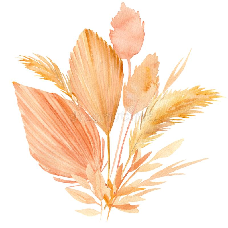 Free Pink And Beige Tropical Leaves, A Bouquet Of Dry Plants On A White Background, Watercolor Illustration In Boho Style Stock Photography - 188300992