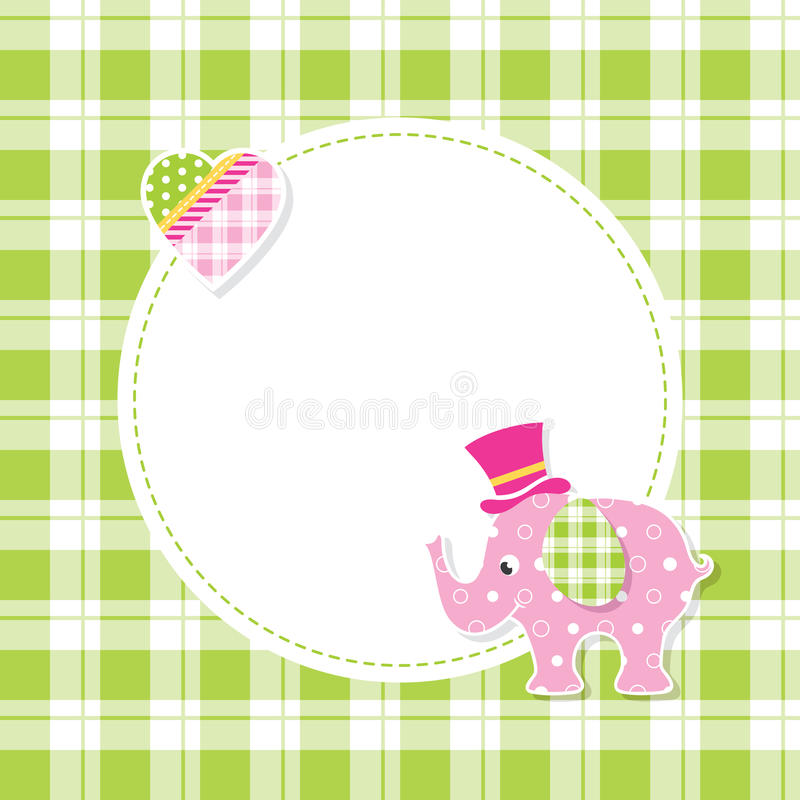 Free Pink And Green Baby Boy Elephant Greeting Card Stock Photo - 67372250