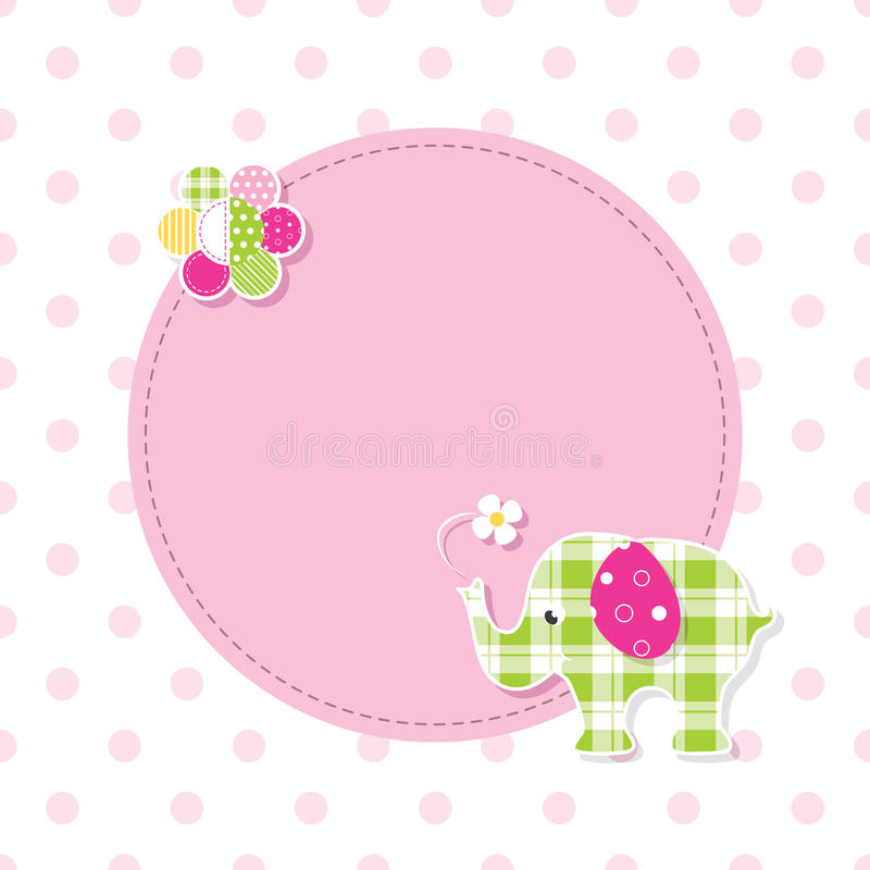 Free Pink And Green Baby Elephant Greeting Card Royalty Free Stock Image - 67372176
