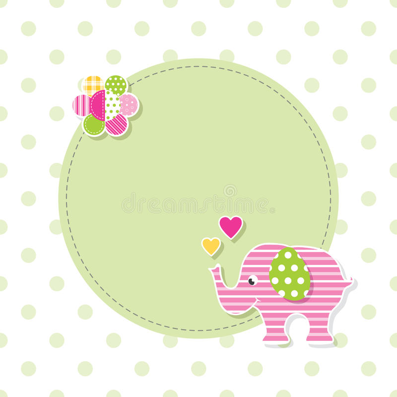Free Pink And Green Baby Elephant Greeting Card Stock Image - 67372211