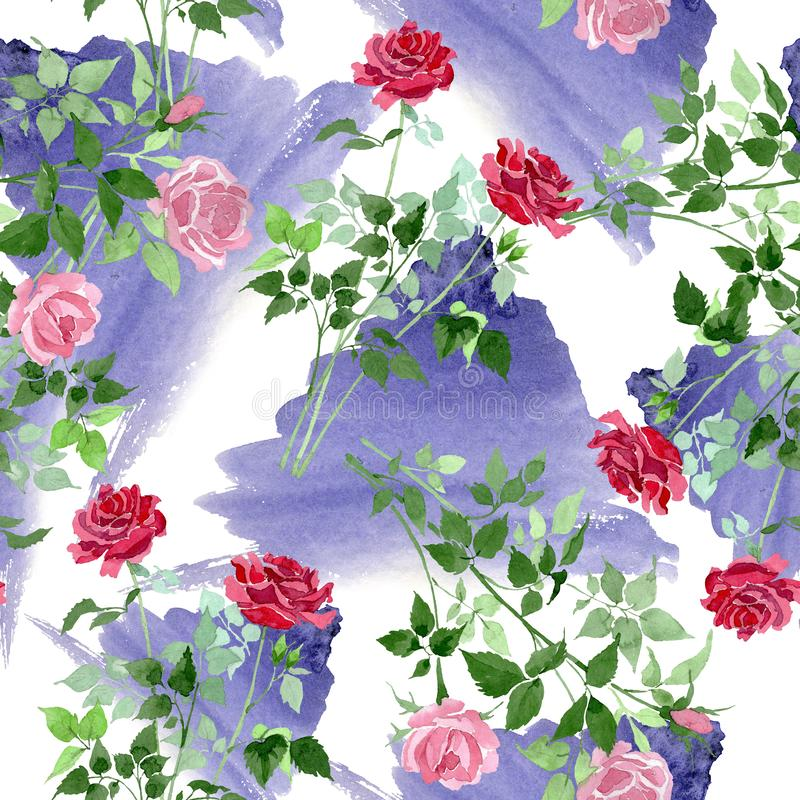 Free Pink And Red Bush Roses Botanical Flowers. Watercolor Background Illustration Set. Seamless Background Pattern. Stock Photo - 140446690