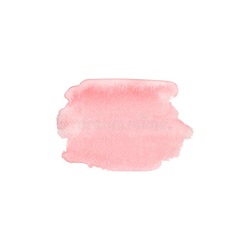 Pink apricot watercolor spot, hand drawn watercolor stain brush vector illustration