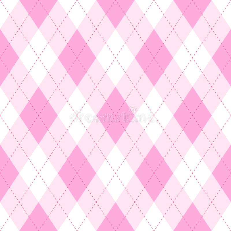 Pink argyle seamless pattern background.Diamond shapes with dashed lines. Simple flat vector illustration vector illustration