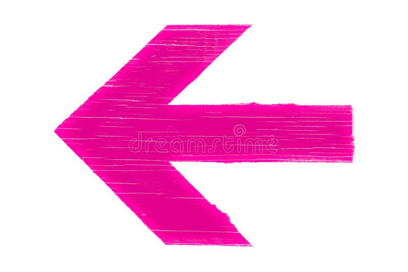 Pink arrow manually painted on wooden signboard texture. And isolated on a white background stock image