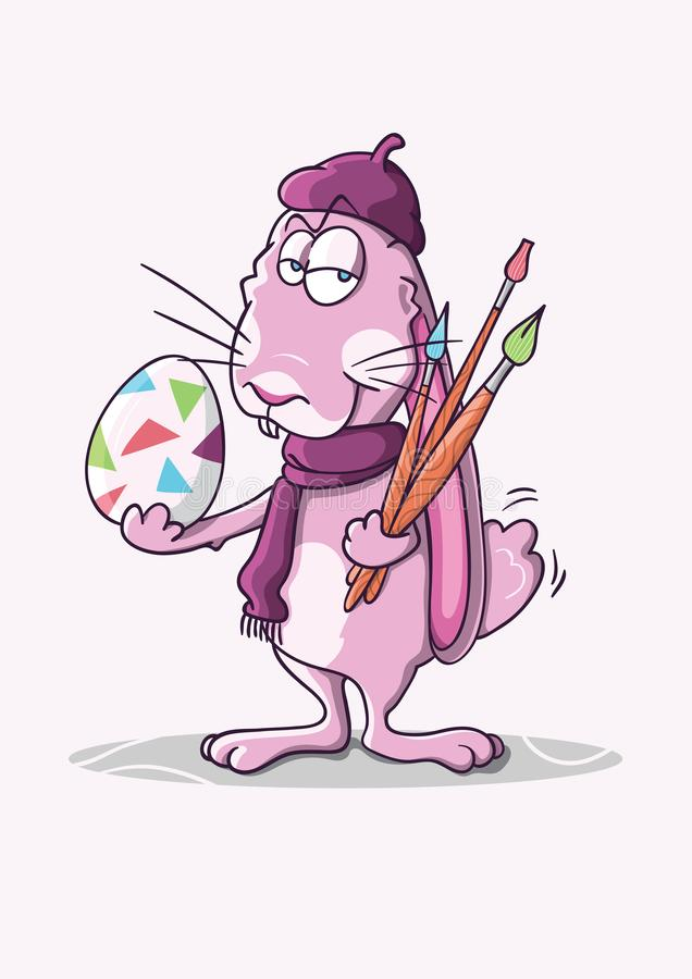 A pink artist rabbit with egg stock photo