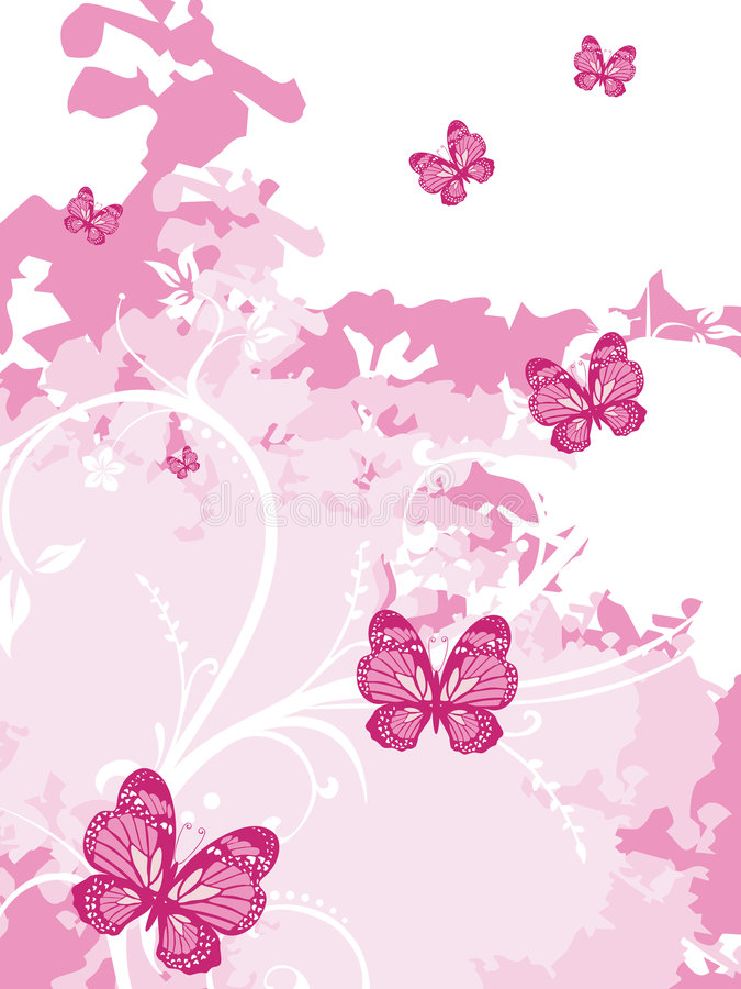 Pink artistic background with butterfly stock photos