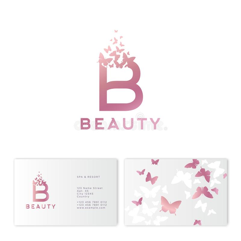 Pink B letter with flying butterflies. Beauty logo. Emblem for Spa, Cosmetics, Fashion, Tailor shop or Jewelry. vector illustration