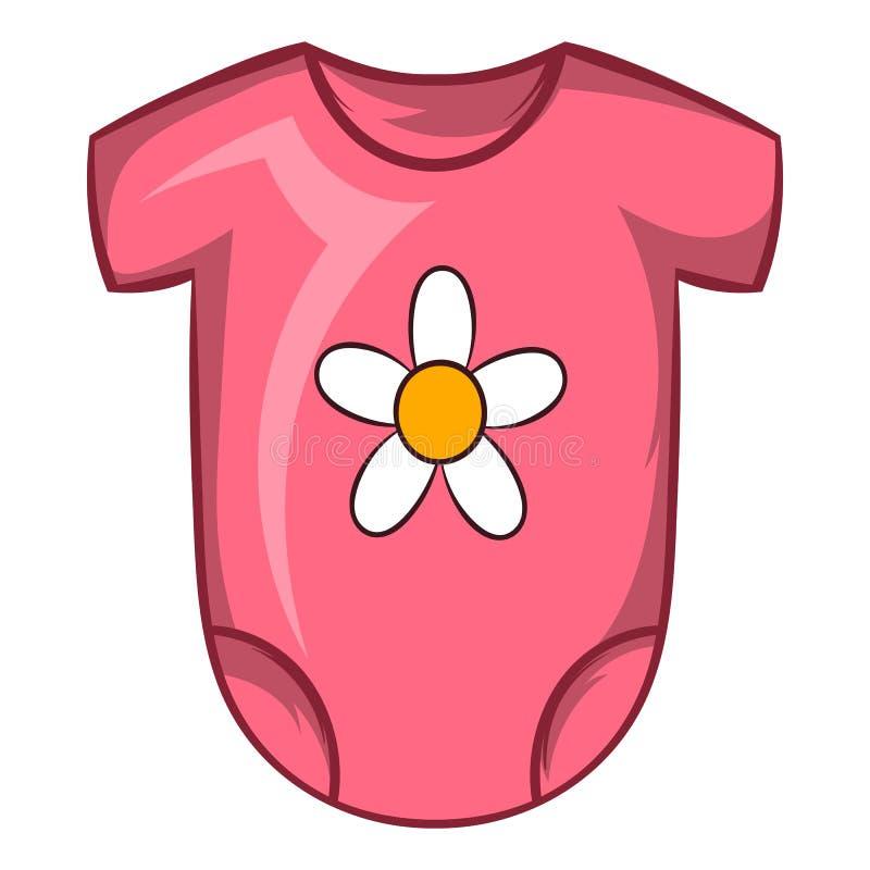 Pink baby bodysuit icon, cartoon style royalty free illustration