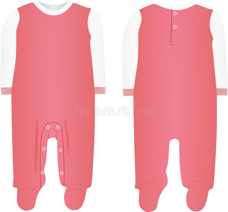Pink baby boy bodysuit. Front and back view, vector stock illustration