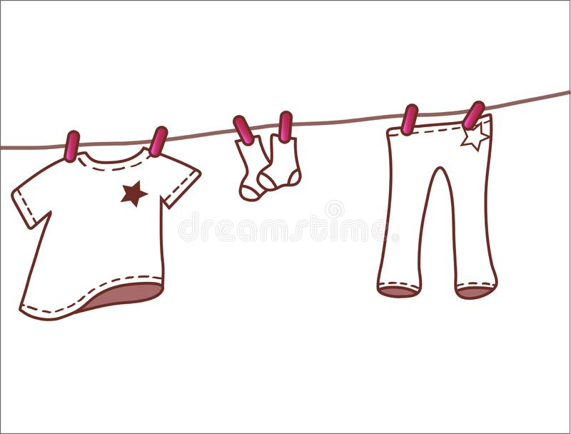 Pink baby clothes hanging on clothesline vector illustration