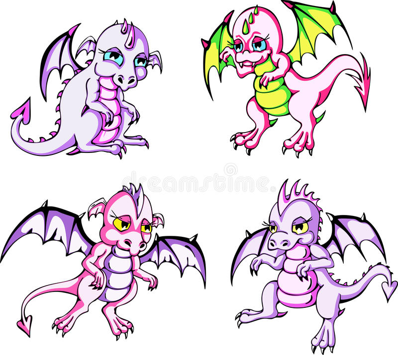 Pink Baby Dragons Stock Image