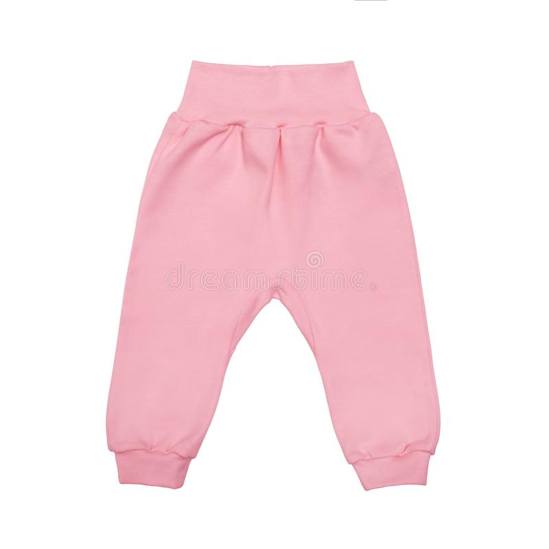 Pink baby drawers pants. child trousers isolated on white background royalty free stock photography