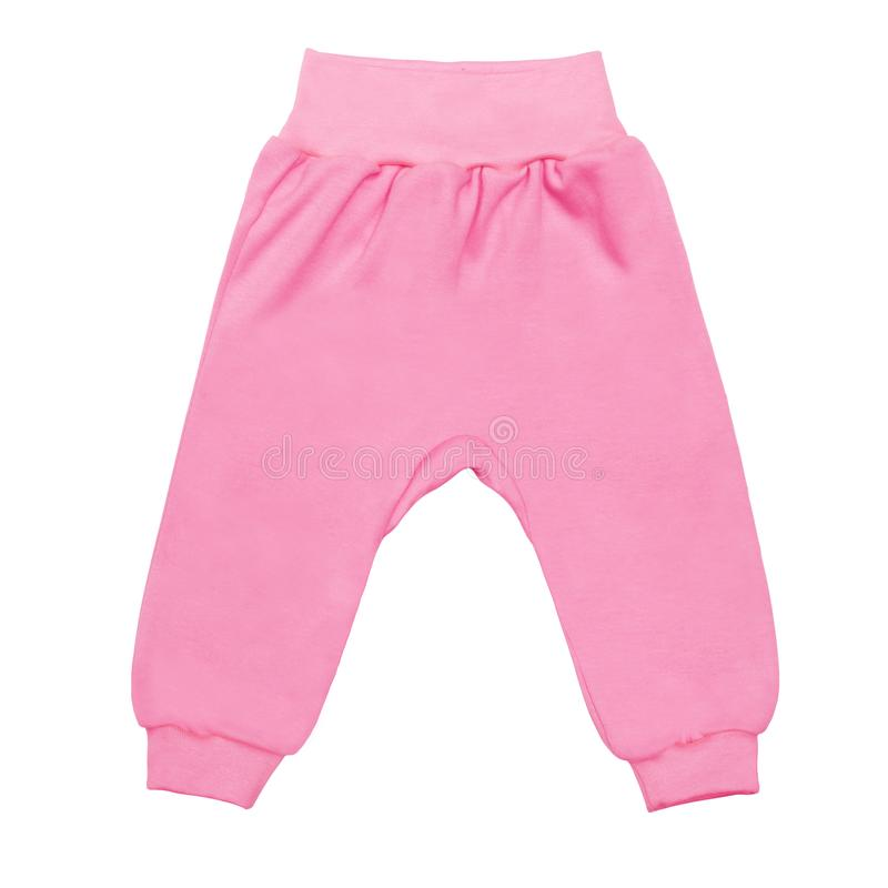 Pink baby drawers pants. child trousers isolated on white background stock photos