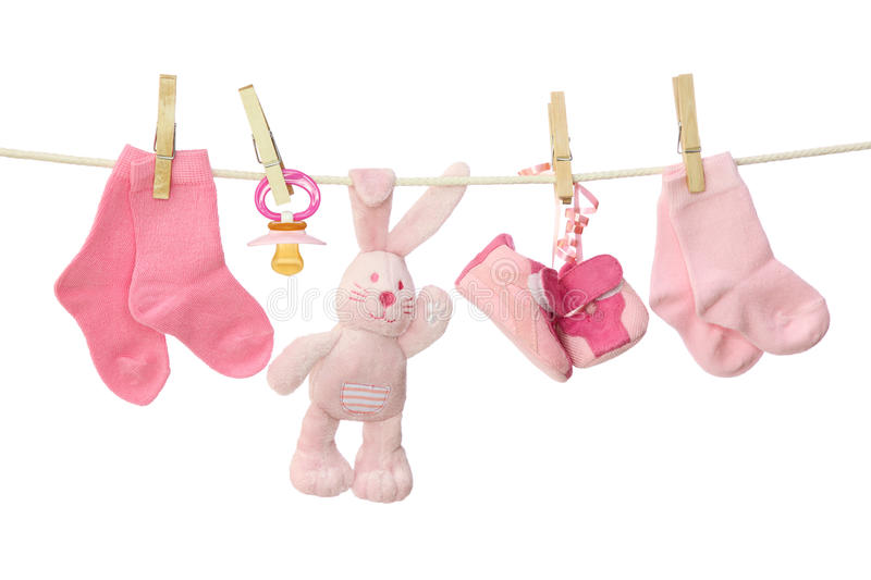 Download Pink baby goods stock image. Image of hanging, rope, white - 15138161