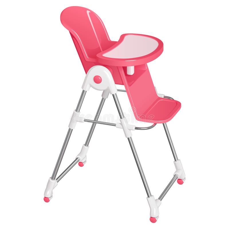 Pink baby highchair for kids feeding, with a removable table, on wheels stock photography