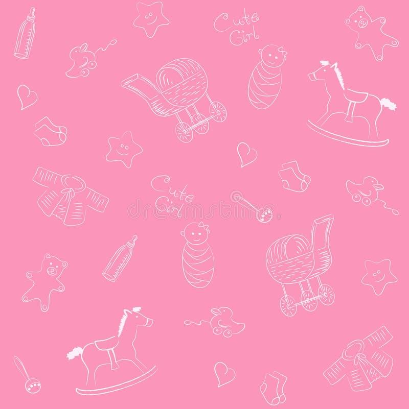 Pink baby pattern vector illustration