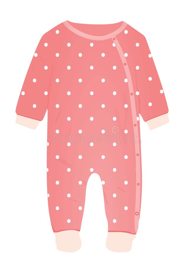 Pink baby romper with polka dot pattern. Vector stock illustration