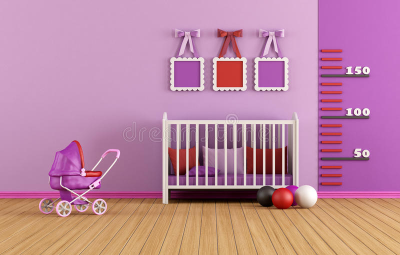 Pink baby room royalty free illustration