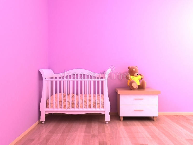 Pink baby room stock image