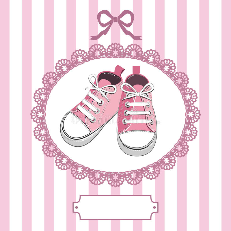 Download Pink Baby Shoes And Lace Frame Stock Vector - Image: 23447922