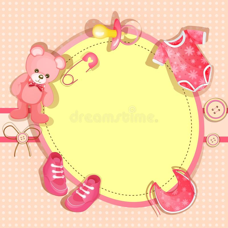 Pink baby shower card. With baby girl elements vector illustration