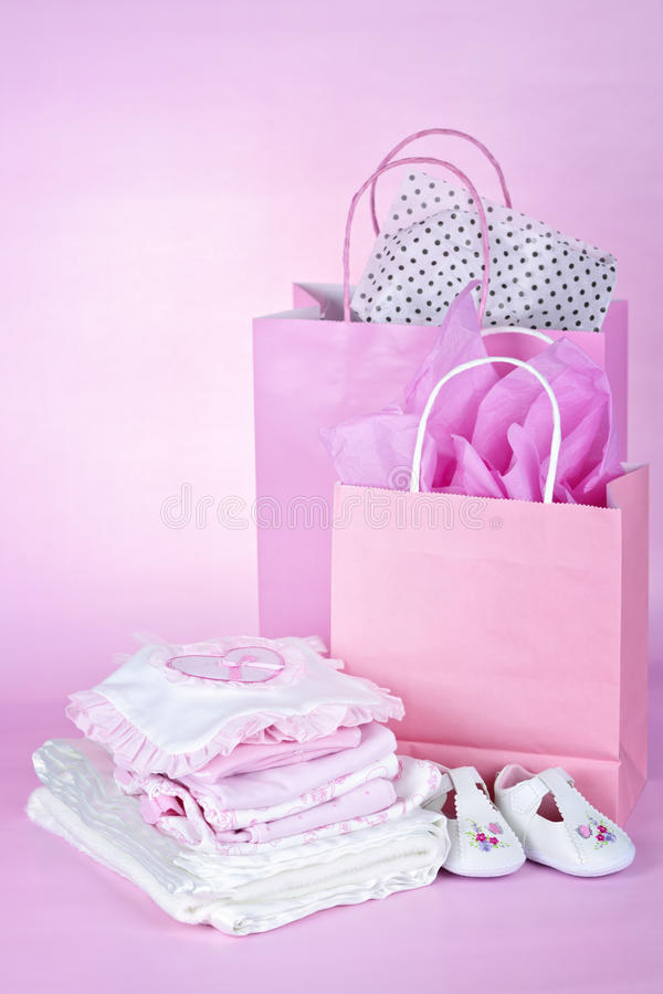 Pink baby shower presents stock images
