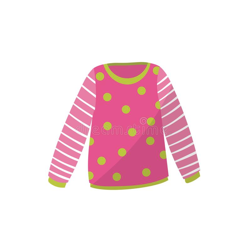 Pink baby sweater in green polka-dot. Cute warm pullover with striped sleeves. Children s apparel. Clothing for toddler. Girl. Kids outfit. Cartoon flat vector royalty free illustration