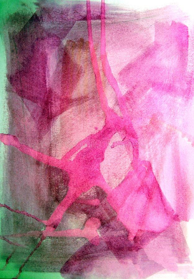 Pink background. A pink and green background made with watercolors royalty free stock photos