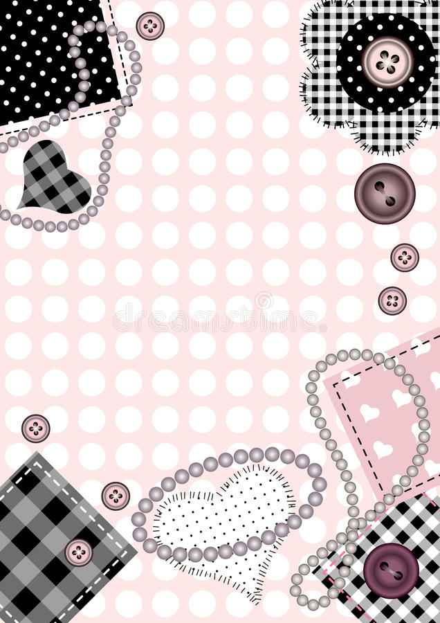 Pink background. Bordered background with patch and beads. Vertical A4 vector illustration