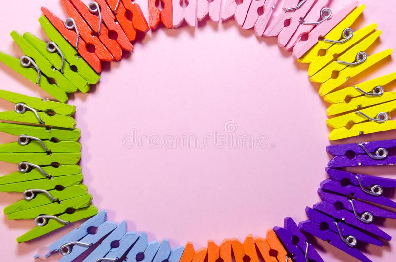 Background of clothespins royalty free stock photos