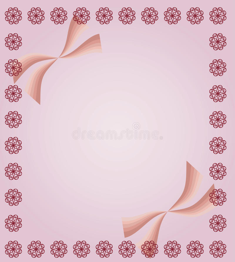 Pink Background With Curls And Ribbons Stock Photography