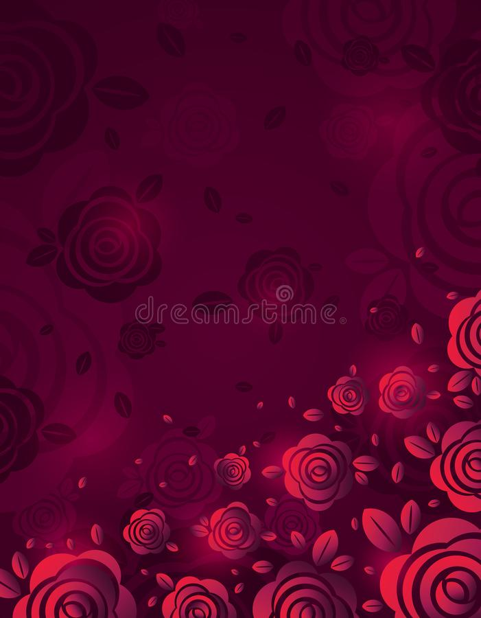 Pink background with fiery rose, vector illustration. Valentines day design with red flowers. Can be used for greetings card, royalty free illustration