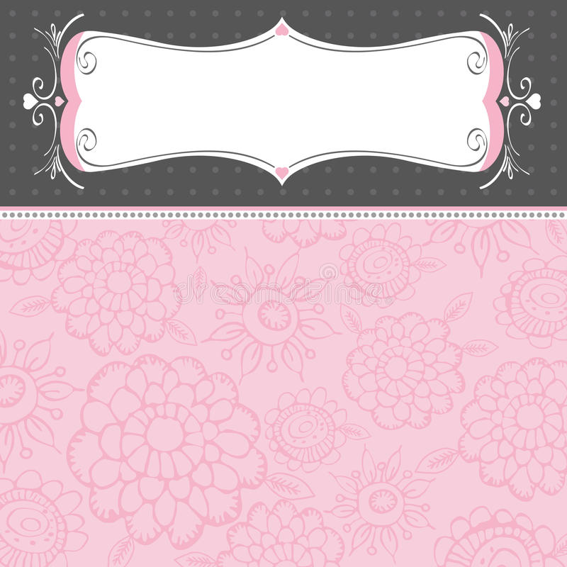 Pink background with flowers royalty free illustration