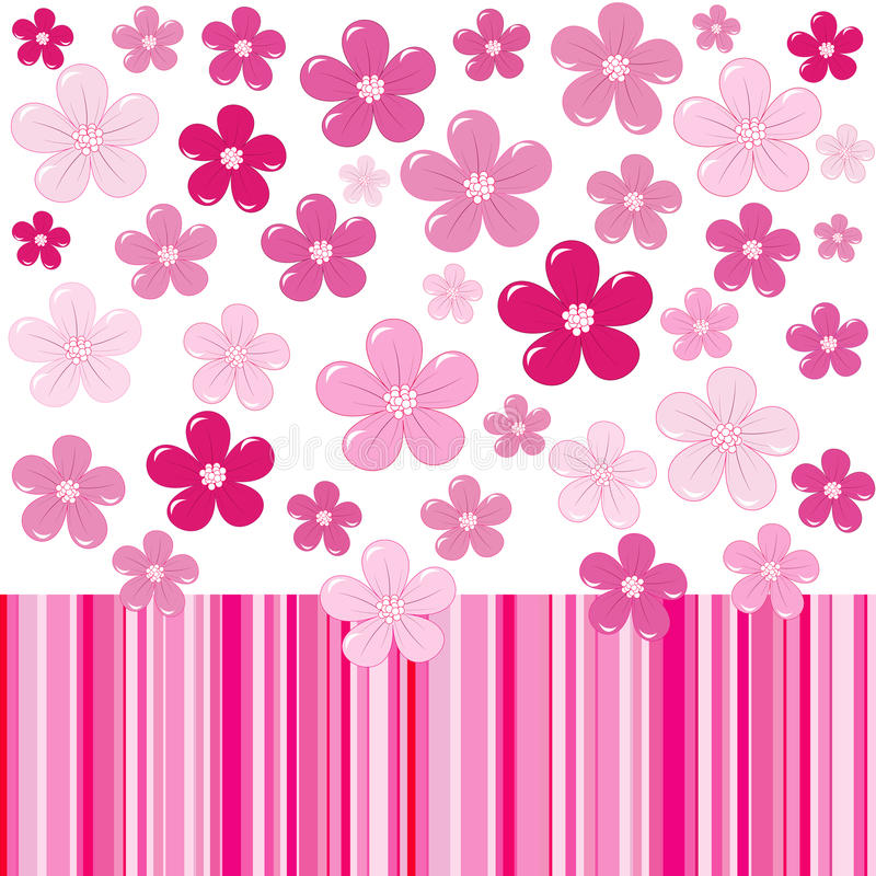 Pink background with flowers and stripes stock illustration