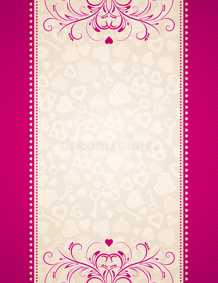 Pink background with hearts vector illustration