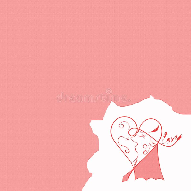 Pink background with a kissing couple in one heart.  royalty free illustration