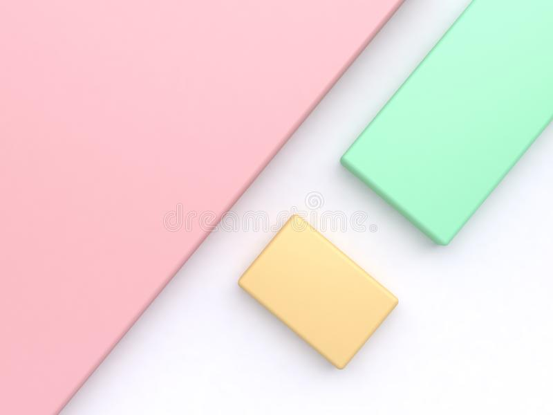 Pink background left corner green square and yellow white floor of geometric shape tilted minimal abstract background 3d render. Ing stock images