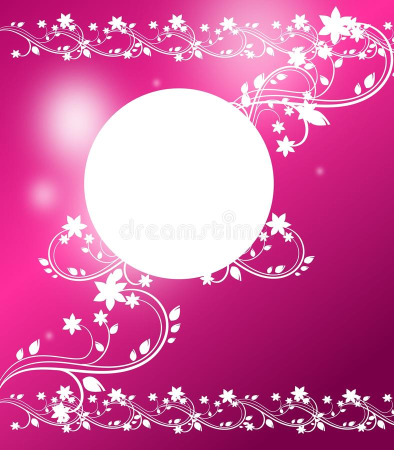 Pink background with ornaments. Pink background with white cirle and ornaments vector illustration