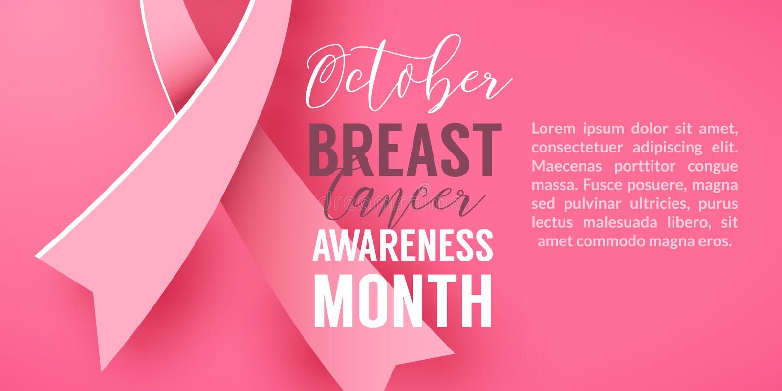Pink background with paper ribbon symbol October Breast Cancer Awareness Month Campaign. Pink background with paper ribbon symbol of breast cancer october vector illustration