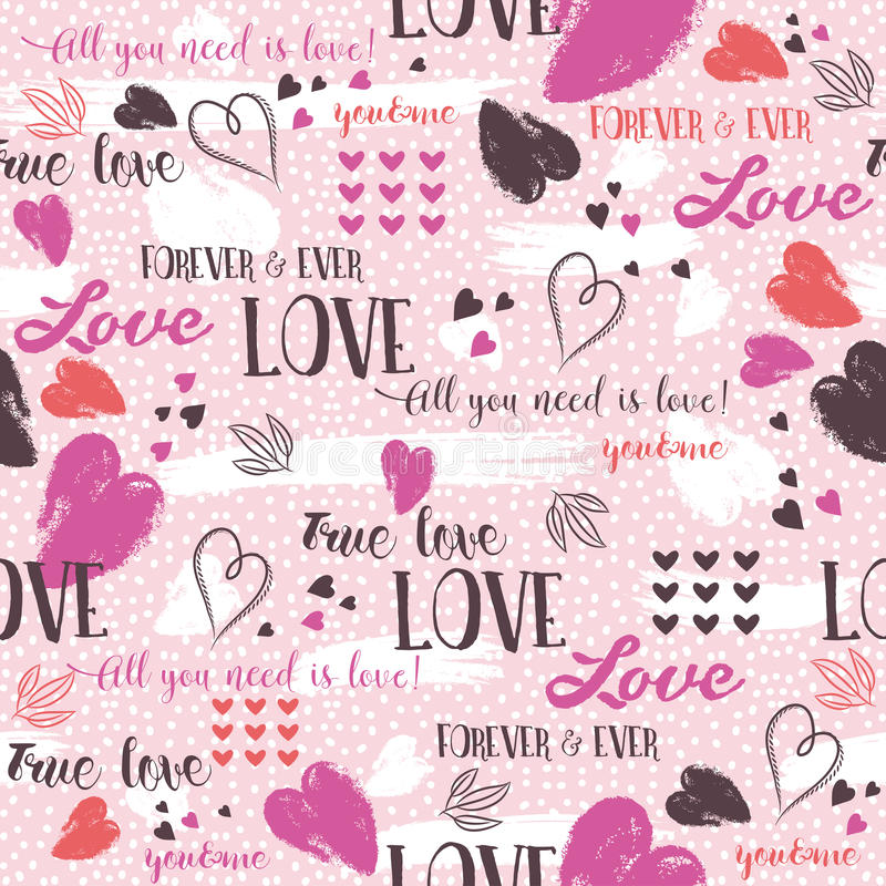Pink background with red valentine heart and wishes text stock image