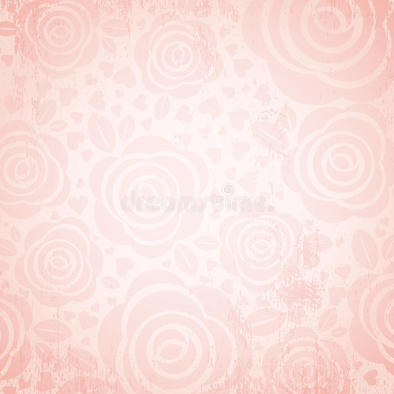 Pink background with rose and heart, vector stock photos