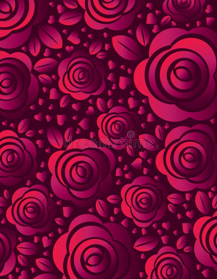 Pink background with rose and heart, vector illustration. Valentines day design with flowers. Can be used for greetings card, stock illustration