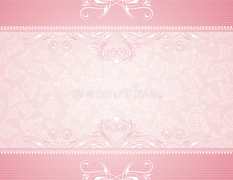 Pink background with roses vector illustration