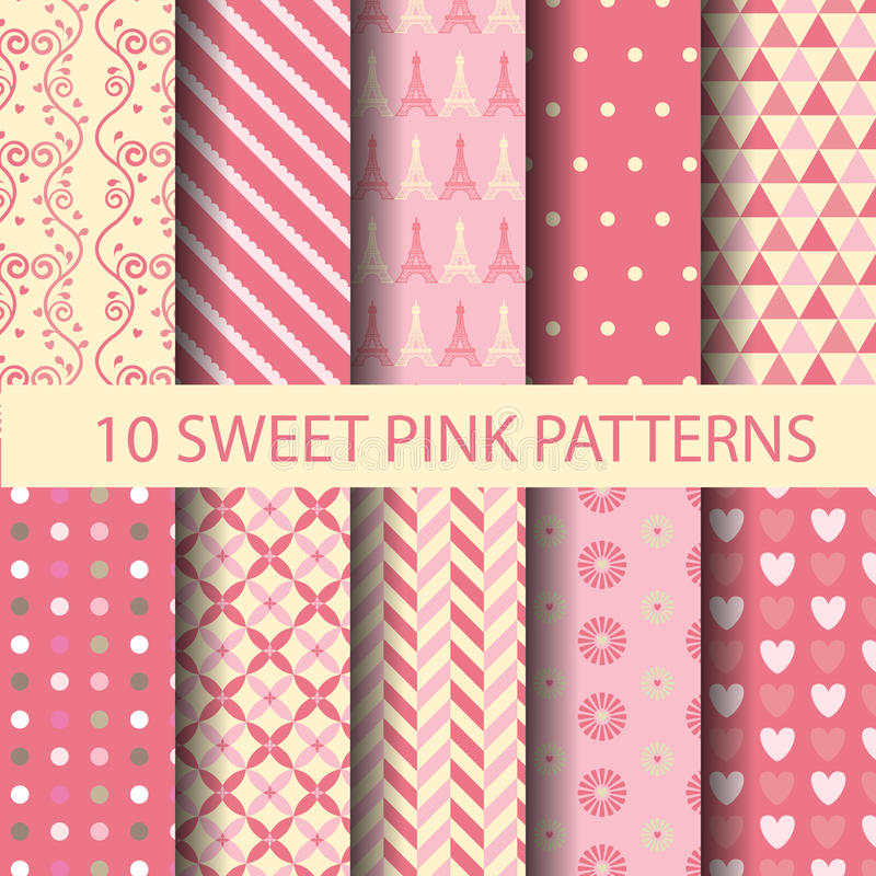 Pink background. Set of sweet pink pattern, for valentines day, Pattern Swatches, vector, Endless texture can be used for wallpaper, pattern fills, web page royalty free illustration