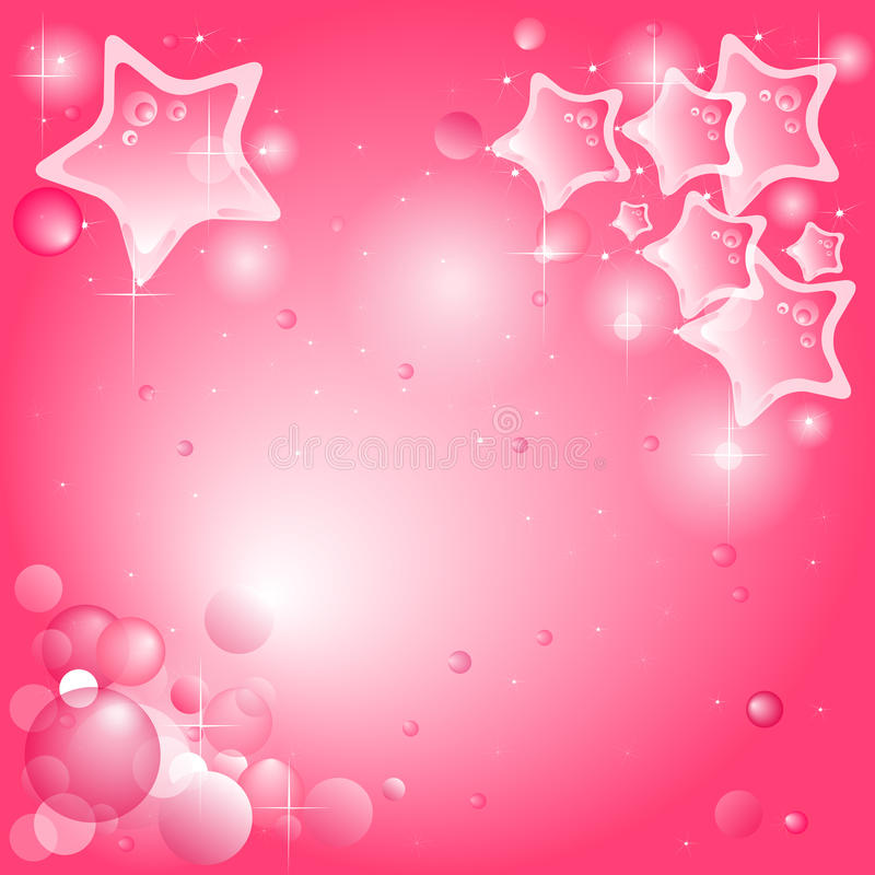 Pink background with stars and bubbles vector illustration