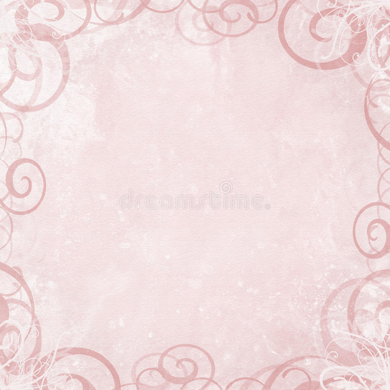 Pink Background With Swirl Border Stock Photo