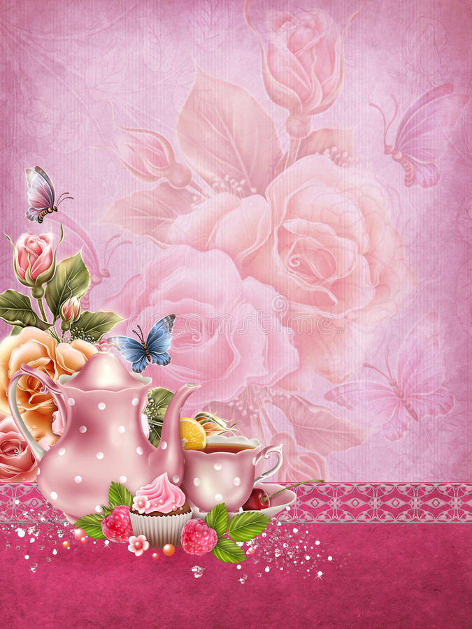 Download Pink Background With A Tea Pot Stock Illustration - Image: 29002959
